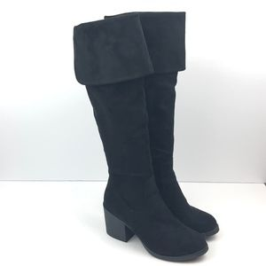 Bamboo Faux Suede Chunky Heeled Knee High Boots